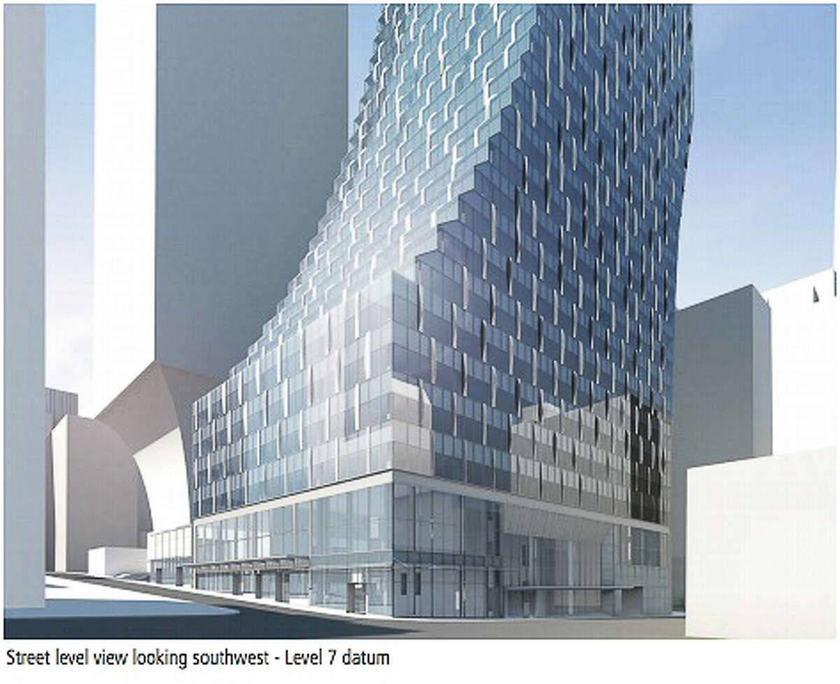 The curve of the proposed 58-story tower would start at the seventh floor, according to the design proposal. With a decision issued on the master use permit, developer Wright Runstad hopes to get construction underway by 2017. NBBJ/Seattle Design Review Board