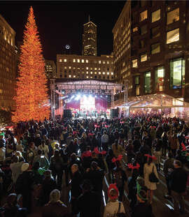 The 555 California Street holiday tree lighting ceremony took place on Dec. 1, 2015.