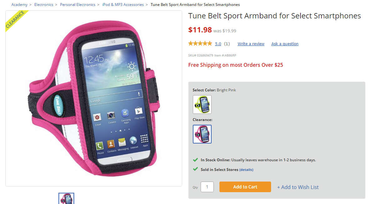 Product: Sport Armband Found: Academy