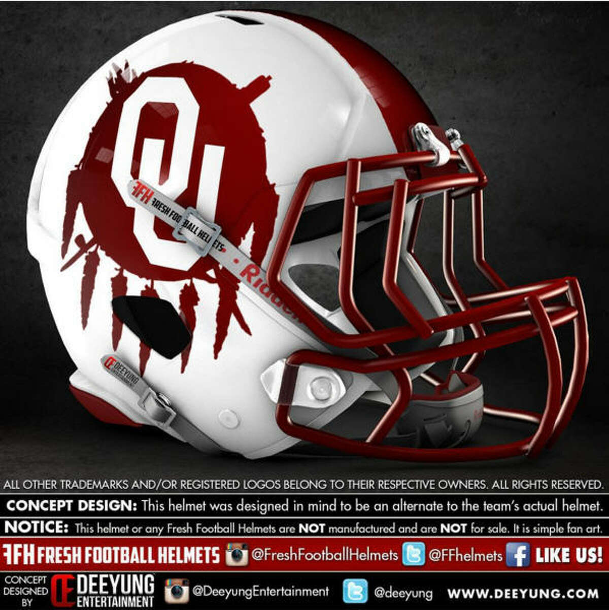 Oklahoma Sooners concept football helmet by Dylan Young of Deeyung Entertainment.