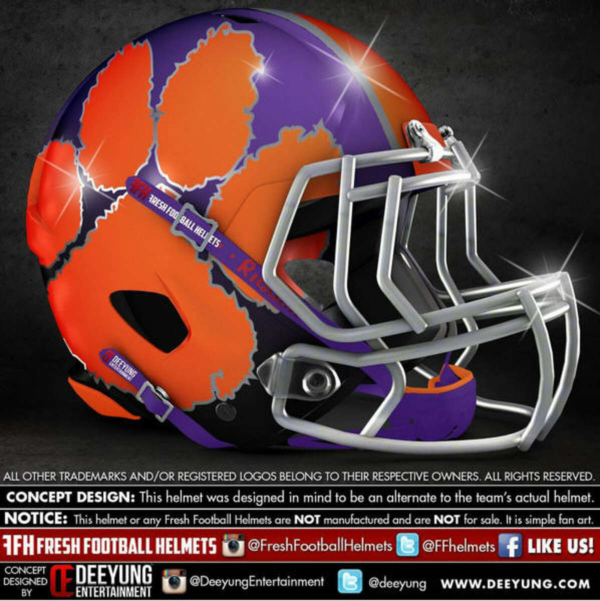 Clemson Tigers concept football helmet by Dylan Young of Deeyung Entertainment.