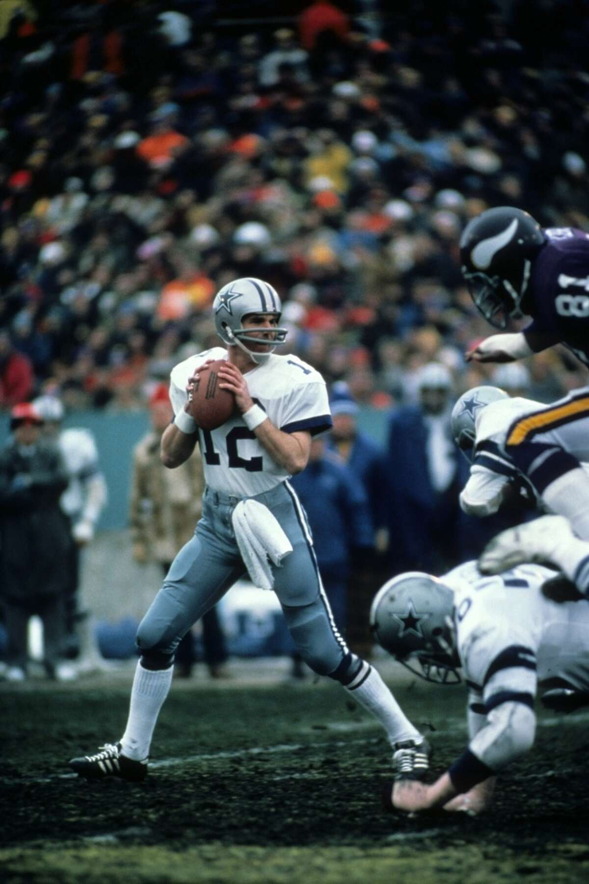 """Dec. 28, 1975: Cowboys 17, Vikings 14 The NFL Hail Mary was born on this day, with Dallas' Roger Staubach finding Drew Pearson from 50 yards out on a desperation heave with 24 seconds left in an NFC divisional playoff game. Vikings fans to this day claim Pearson interfered with cornerback Nate Wright. After the game, Staubach said """"I closed my eyes and said a Hail Mary,"""" bringing the term into the football lexicon to stay."""