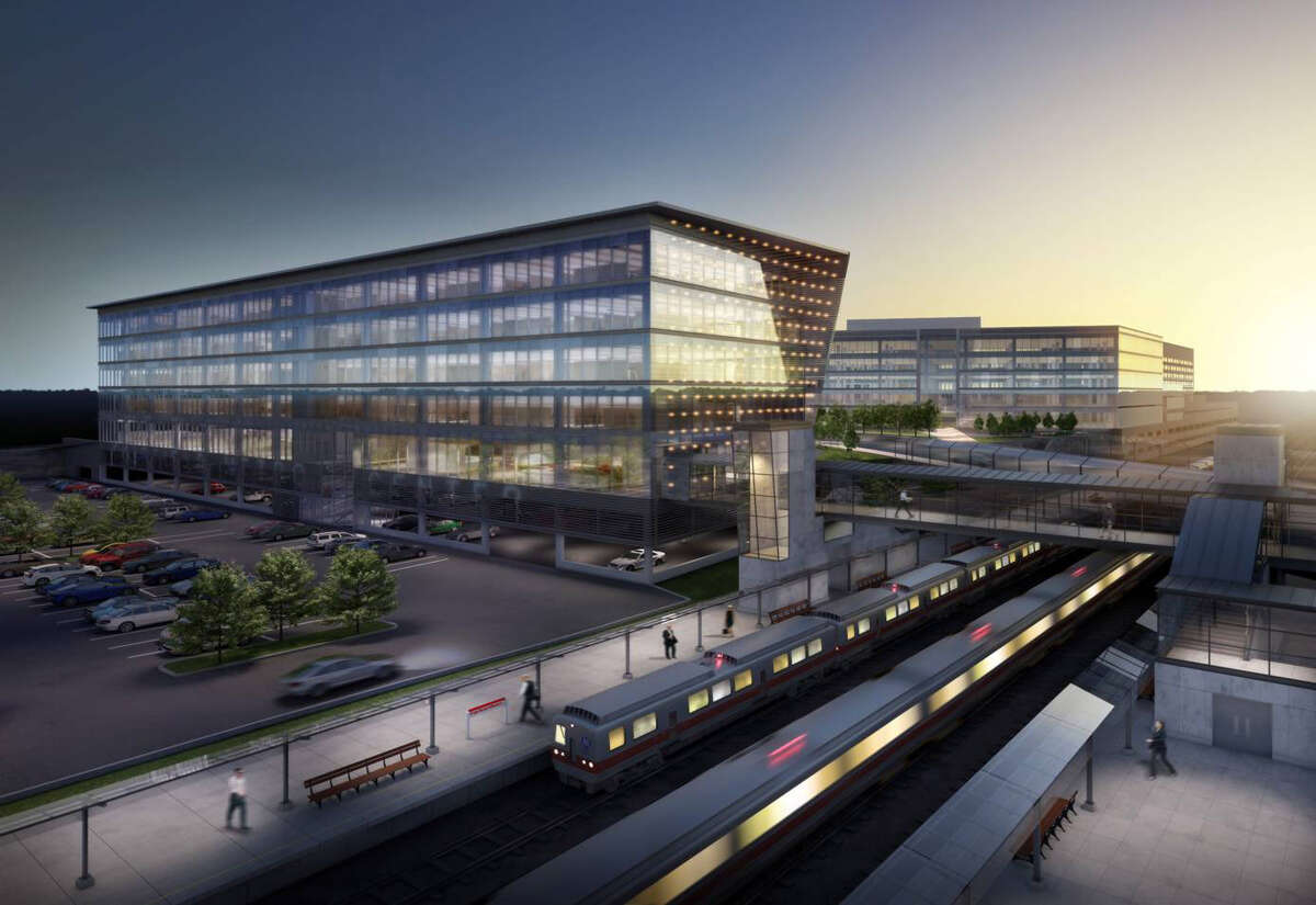 An artist's rendering of what the Fairfield Metro train station would look like with a proposed concourse building.