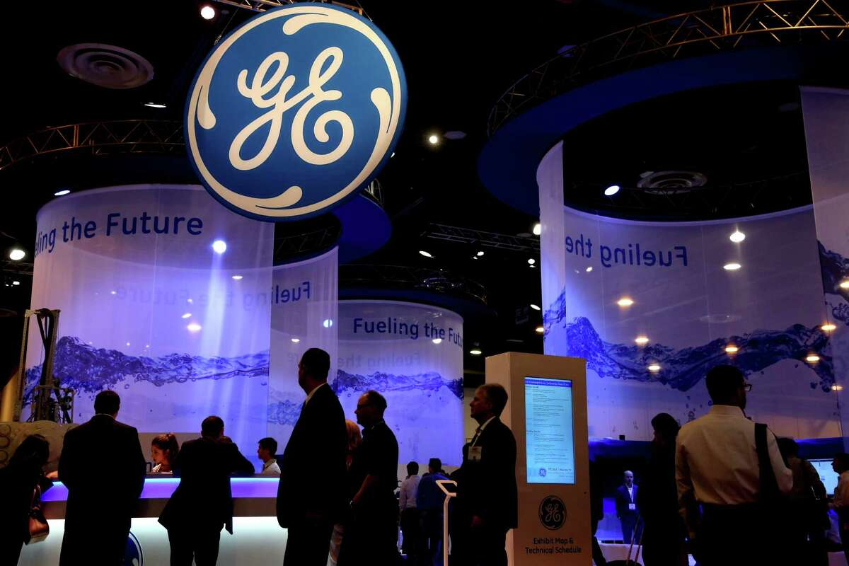 The GE Oil & Gas booth at the May 2015 Offshore Technology Conference in Houston. ( Gary Coronado / Houston Chronicle )