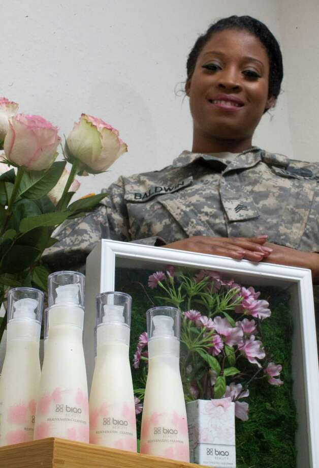 Nicole Baldwin is a military veteran who became an entrepreneur of a skin-care line. She also has a non-profit organization to help women suffering from PTSD. Photo: J. Patric Schneider, Freelance / © 2015 Houston Chronicle