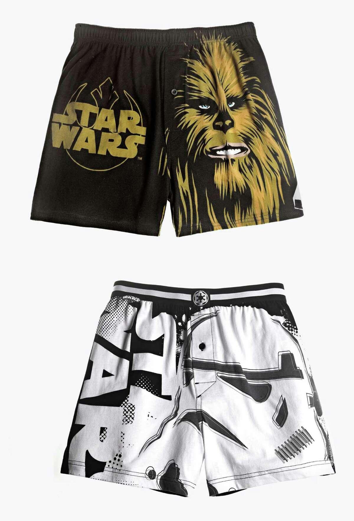 Bioworld 'Star Wars' Stormtrooper and Chewbacca Boxers: $14.99 each, macys.com.