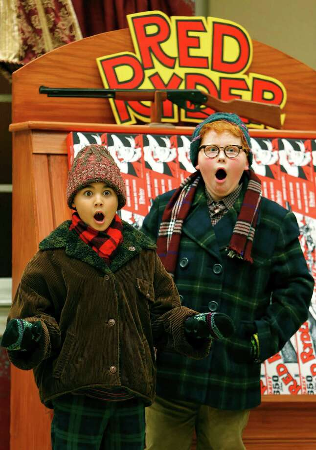 """Cypress residents Sean Graul, 11, left, and Estus Stephens,12, perform in  """"A Christmas Story"""" at the Hobby Center.     Cypress residents Sean Graul, 11, left, and Estus Stephens,12, perform in  """"A Christmas Story"""" at the Hobby Center. Photo: Mark Mulligan, Staff / © 2015 Houston Chronicle"""