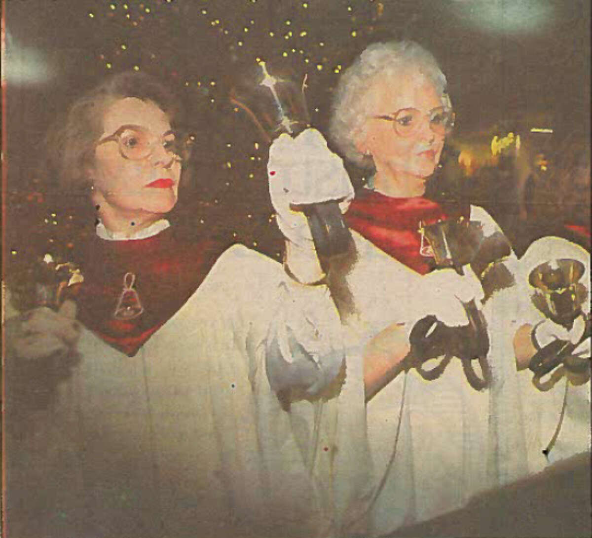 Calder Baptist Church bell ringers Vicki Price, left, and Cathy Arrington perform, 1989.
