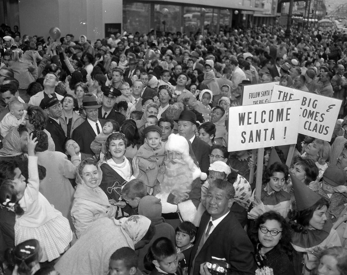 Santa arrives by car in the Emporium Capwell 11/5/1960