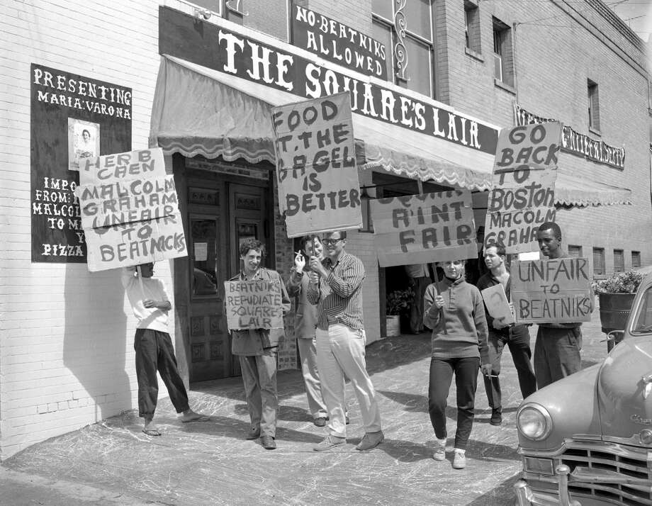 "Beatniks protest outside a ""No Beatniks Allowed"" sign at the Square's Lair in September 1958. Photo: Bob Campbell / The Chronicle / ONLINE_YES"