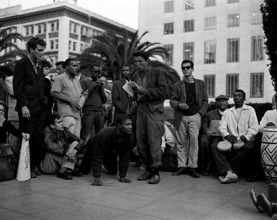 Beatniks go on a tour of San Francisco, visiting the St, Francis Hotel, Union Square and I. Magnin's , August 11, 1958 Photo: Bob Campbell / The Chronicle / ONLINE_YES