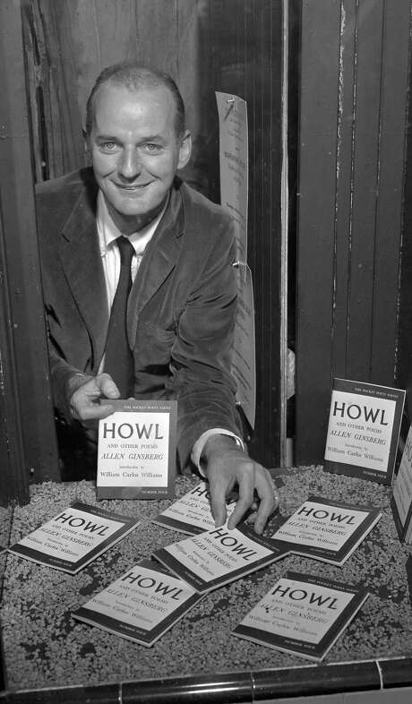 "Lawrence Ferlinghetti with Allen Ginsberg's ""Howl"" in September 1957. Photo: Bob Campbell / The Chronicle / ONLINE_YES"