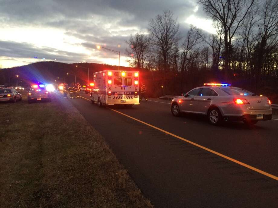 State troopers tweeted this photo of a crash on Route 7 near the Danbury Fair Mall. Photo: Connecticut State Police / Connecticut State Police / Connecticut Post