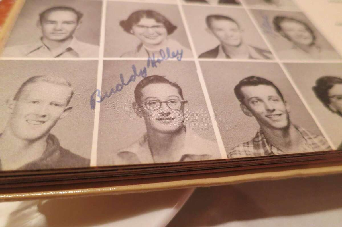 Buddy Holly, class of 1955, Lubbock High School yearbook. Alumni of the class, now in their late 70s, get together for lunch every couple of months to recall old times.