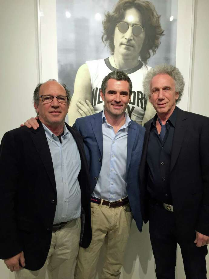 Artist and printer Gary Lichtenstein, Lee Milazzo, proprieter of Samuel Owen Gallery and photographer Bob Gruen at Samuel Owen Gallery during the opening of a new exhibit featuring both men's work. The exhibit includes photos taken when Gruen was the personal photographer for John Lennon. Photo: Contributed / Contributed Photo / Greenwich Time Contributed