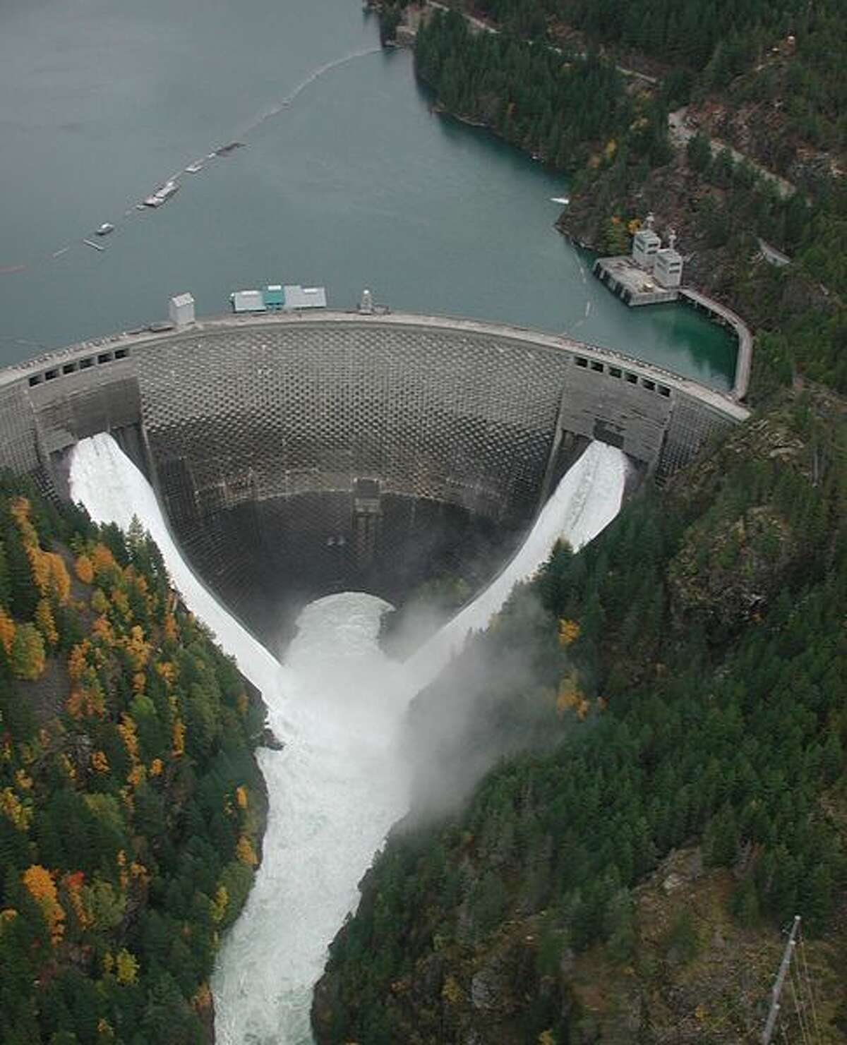Ross Dam on the Skagit River. Melt from the winter snow pack fills the reservoir behind the 505' high dam, which generates electricity for Seattle City Light.
