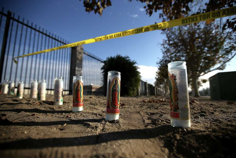 A makeshift memorial near the Inland Regional Center on Dec, 4, 2015 in San Bernardino. Photo: Justin Sullivan, Getty Images / 2015 Getty Images