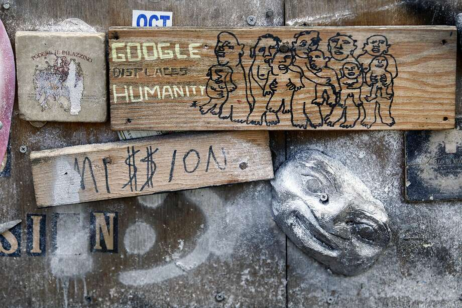 A makeshift bench at 23rd and Harrison streets derides the impact of Google on the Mission District. The behemoth company is commonly used as an archetype for the whole tech sector. . Photo: Mathew Sumner, Special To The Chronicle