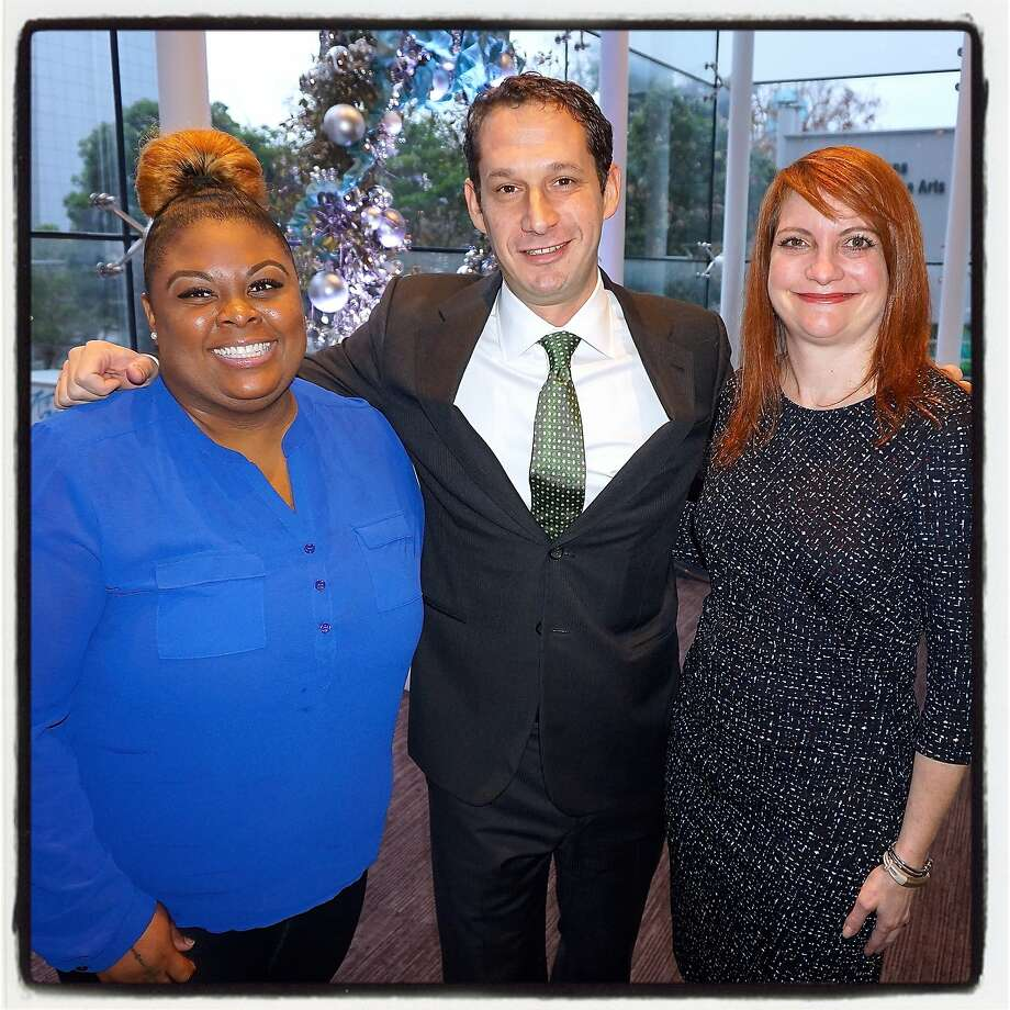 Tipping Point honoree Akiko-Ariele White (left) with TP founder-CEO Daniel Lurie and Community Housing Partnership Executive Director Gail Gilman at the St. Regis Hotel. Dec 2015. Photo: Catherine Bigelow, Special To The Chronicle