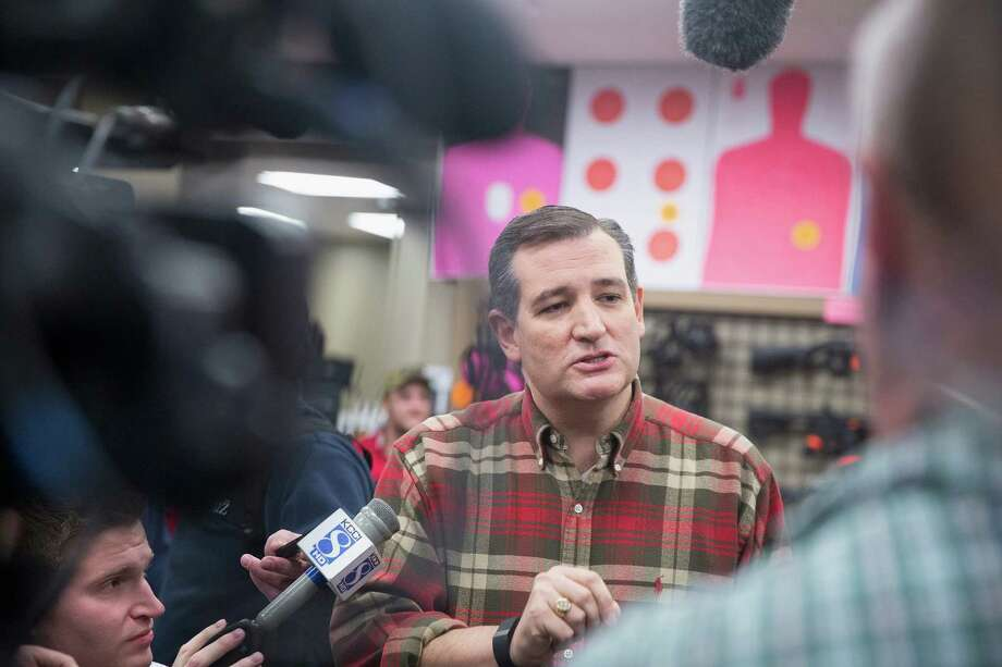 """Republican presidential candidate Sen. Ted Cruz said Friday at a campaign event at CrossRoads Shooting Sports gun shop and range """"You don't stop bad guys by taking away our guns."""" Cruz is among Republican presidential hepfuls who are touting their support of gun ownership rights. Photo: Scott Olson, Staff / 2015 Getty Images"""