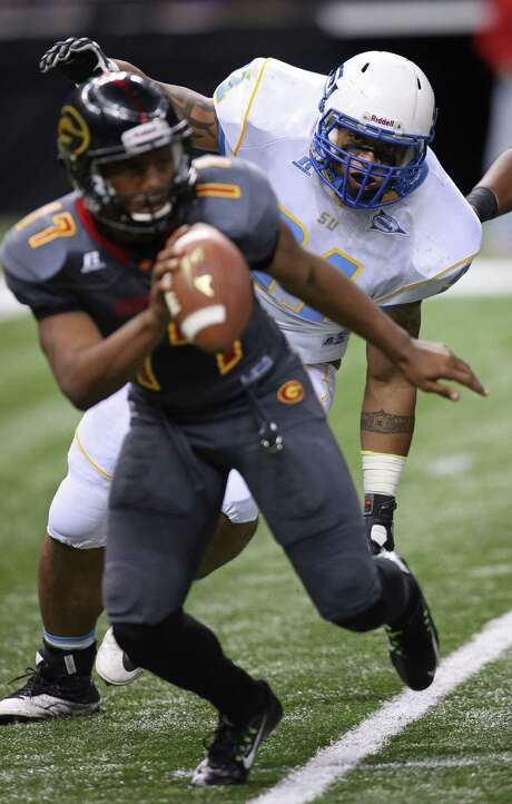 Grambling State quarterback Johnathan Williams (17), the SWAC Offensive Player of the Year, has been instrumental in helping Grambling State advance to the league title game for the second consecutive season. Williams is the Football Championship Subdivision leader with 38 touchdown passes this season and also led the SWAC with 2,910 yards passing. Photo: Max Becherer, FRE / FR171354 AP