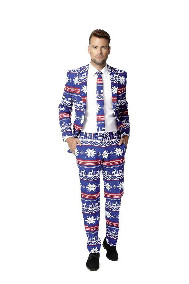 The Dutch label Opposuits created six uniquely holiday-printed three-piece suits. In August Macy's became one of the first companies in North America to carry the label three-year-old, whose slim-cut suits retail for $99.99. Photo: Courtesy Of Macy's
