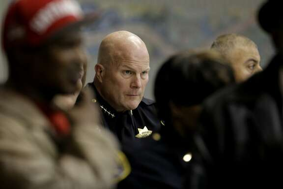 San Francisco Police Chief Greg Suhr listens to comments from the neighborhood as the San Francisco Police department hosts a town hall meeting, on Fri. December 4, 2015 to discuss the officer-involved shooting of 26-year-old Mario Woods in the Bayview neighborhood that sparked outrage nationwide after a video taken of the shooting was circulated on social media, in San Francisco, Calif.
