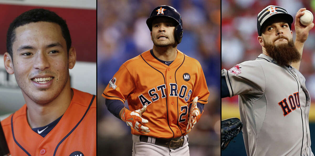 Carlos Correa, left, Jose Altuve, Dallas Keuchel: Meet the Houston Astros' triple threat. Puerto Rican shortstop Carlos Correa was drafted first overall by the Astros in 2012 and was named the 2015 Rookie of the Year by Major League Baseball. The 'stros left-handed starting pitcher, Dallas Keuchel, received the Baseball Writers' Association of America's Cy Young Award. And Venezuelan Jose Altuve earned both Silver Slugger and Gold Glove awards, racking up 40 doubles, four triples, 15 home runs and 66 RBIs this season.