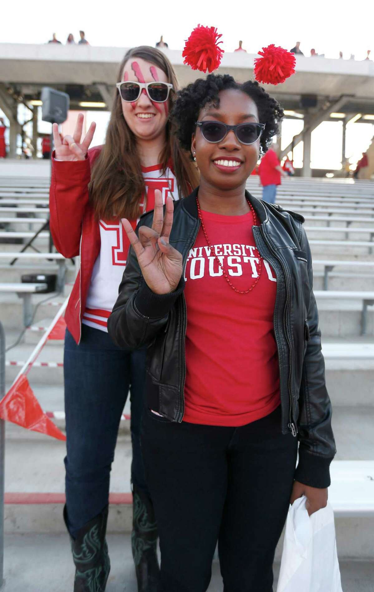 University of Houston fans before the start of the American Athletic Conference Championship football game at TDECU Stadium on Saturday, Dec. 5, 2015, in Houston .