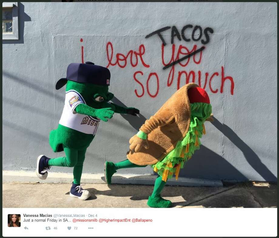 "Ballapeno and Henry the Puffy Taco shared their love and adoration for the ""I love tacos so much wall"" with fellow fans. Photo: Twitter, Courtesy"