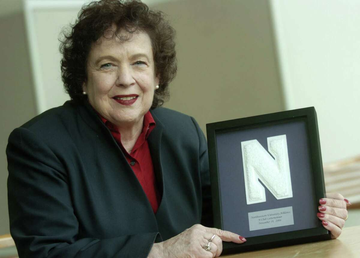Seen here in 2004, Jeanne Franklin received a varsity letter from Northwestern University for her participation in aquatic sports there in 1950s. Women did not receive letters for sports until the 1980s. The founding director of the Stamford Senior Center, Franklin died Nov. 22, 2015.