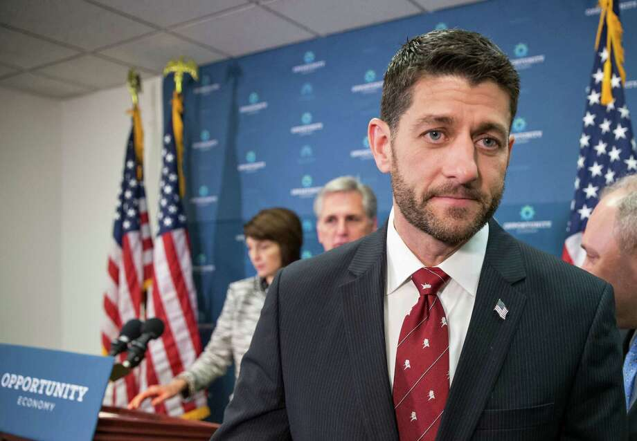 In this Dec. 1, 2015 photo, Speaker of the House Paul Ryan, R-Wis., departs a news conference following a GOP strategy session at the Capitol in Washington, Tuesday, Dec. 1, 2015. From left are Rep. Cathy McMorris Rodgers, R-Wash., chair of the Republican Conference, Majority Leader Kevin McCarthy, R-Calif., Speaker Ryan, and Majority Whip Steve Scalise, R-La.  After months where tea party lawmakers provoked crisis and unrest in Congress, even driving out a speaker, GOP leaders have turned to the business of governing, pushing forward a series of bills destined to get a presidential signature.   (AP Photo/J. Scott Applewhite) Photo: J. Scott Applewhite, STF / AP