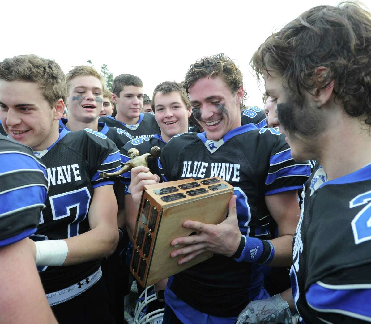 FCIAC Championship football game bewtween New Canaan High School and Darien High School at Stamford High School's Boyle Stadium, Stamford, Conn., Thursday, Nov. 26, 2015. Darien took the championship Turkey Bowl title over New Canaan by a score of 28-21.