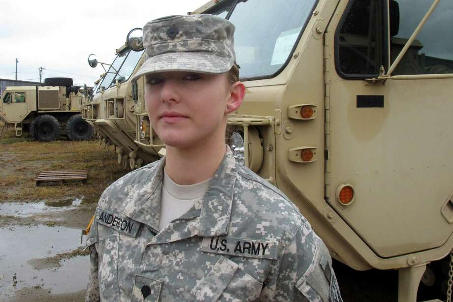 In this Dec. 3, 2015, photo, Vermont National Guard Spc. Skylar Anderson, the first female in the Army to qualify as a combat engineer, poses at Camp Johnson in Colchester, Vt. Anderson said she didn't know when she started the training course to become a combat engineer that she would be the first female to graduate. The military has opened up a number of combat jobs to women that were once reserved for men only. (AP Photo/Wilson Ring) Photo: Wilson Ring, STF / AP