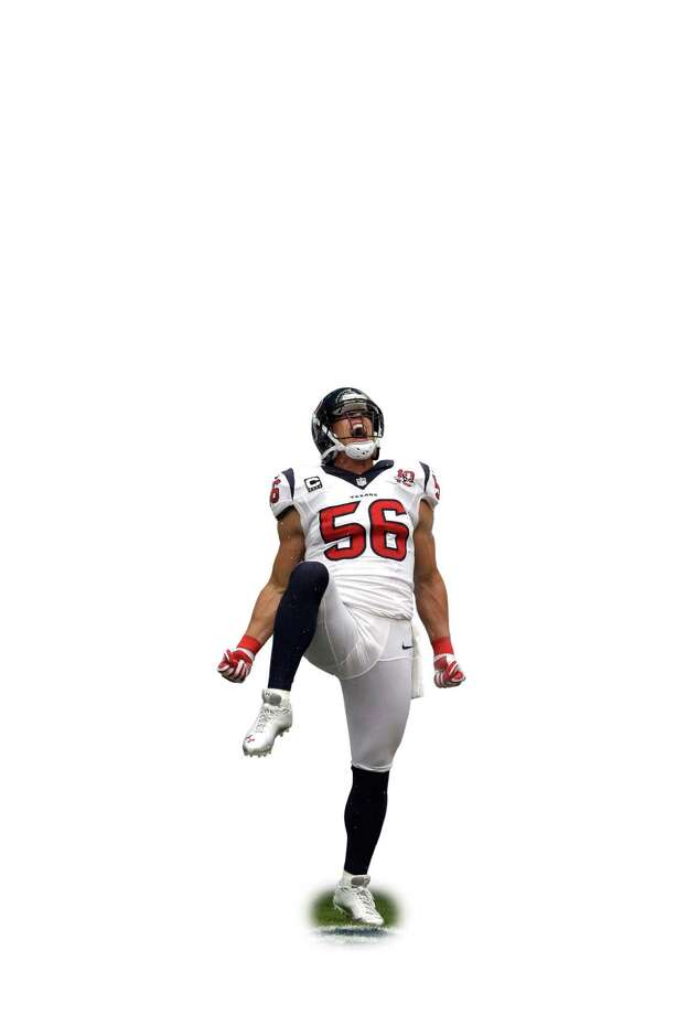 Texans fans hope defensive end J.J. Watt will be doing as much saluting during the Bills game as he did against the Saints. Photo: David J. Phillip, STF / AP2012