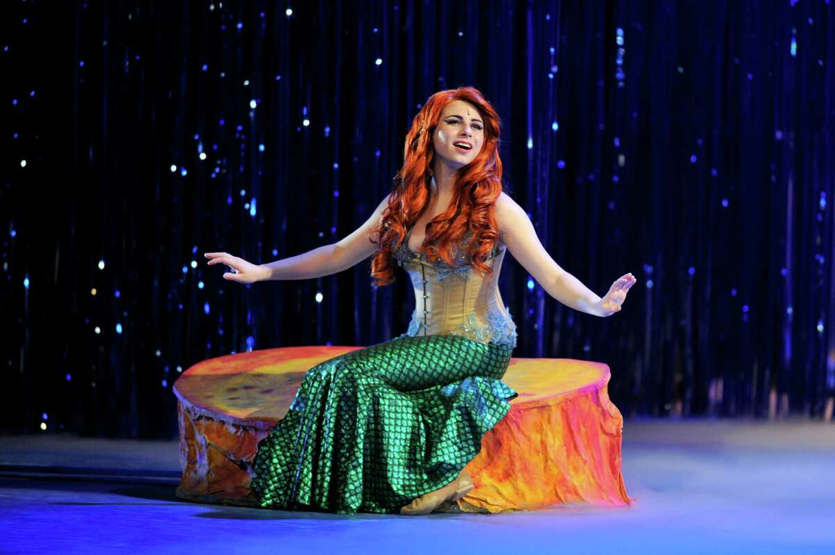 Julianna Goldfluss plays Ariel during the opening night of the Stamford All-School Musical production of The Little Mermaid, held at Westhill High School.
