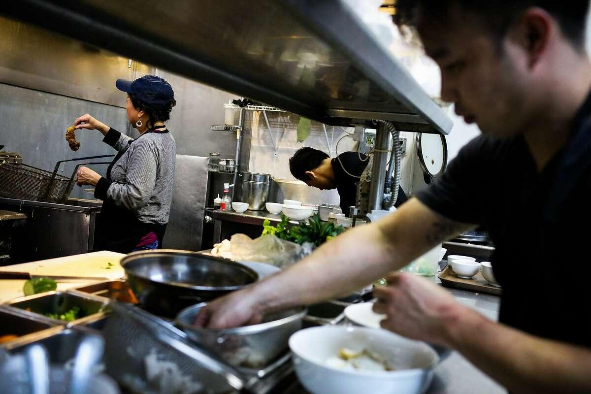 The kitchen of Ha Nam Ninh restaurant in San Francisco.