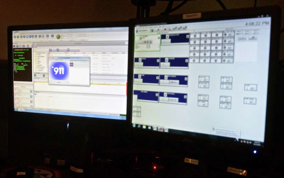 An info window pops up for a 911 call on the NG911 dispatch system at the Ridgefield Police Department. Photo: H John Voorhees III / Hearst Connecticut Media / The News-Times
