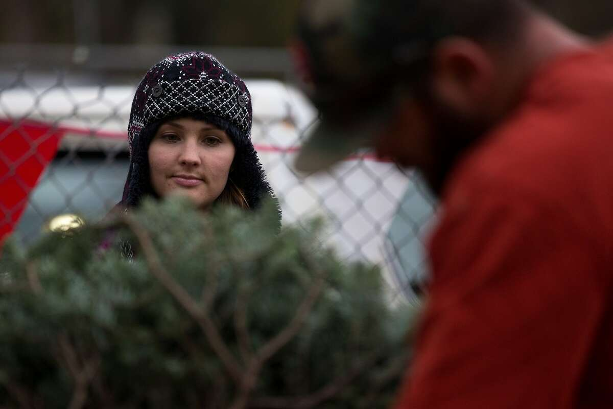 Stephanie Cozzolino (left) watches as Kyle Angelini, a family friend, trims trees on the Cozzolino Christmas tree lot on Saturday, Dec. 5, 2015 in half Moon Bay, Calif.