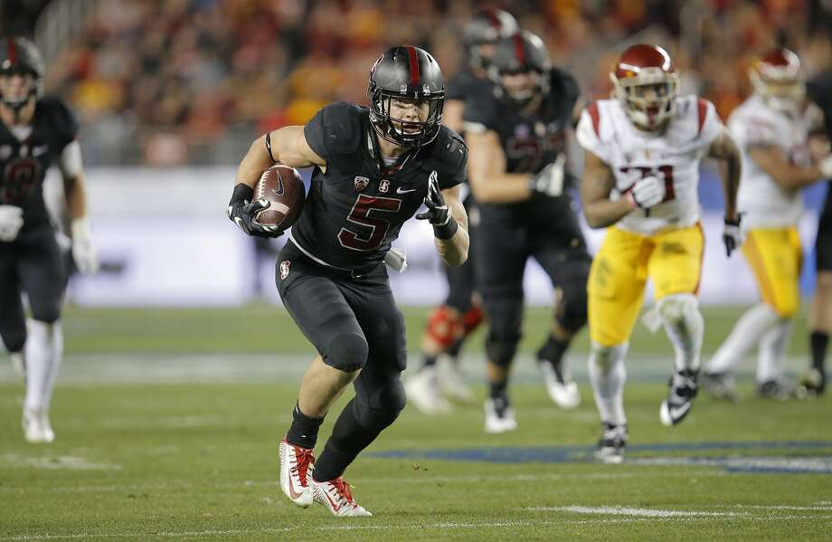 Stanford's Christian McCaffrey, 5 runs for a fourth quarter touchdown, as Stanford went on to beat on the USC Trojans 41-22 in the NCAA College PAC-12 Football Championship at Levi Stadium in Santa Clara, Calif., on Saturday December 5, 2015. Photo: Michael Macor, The Chronicle