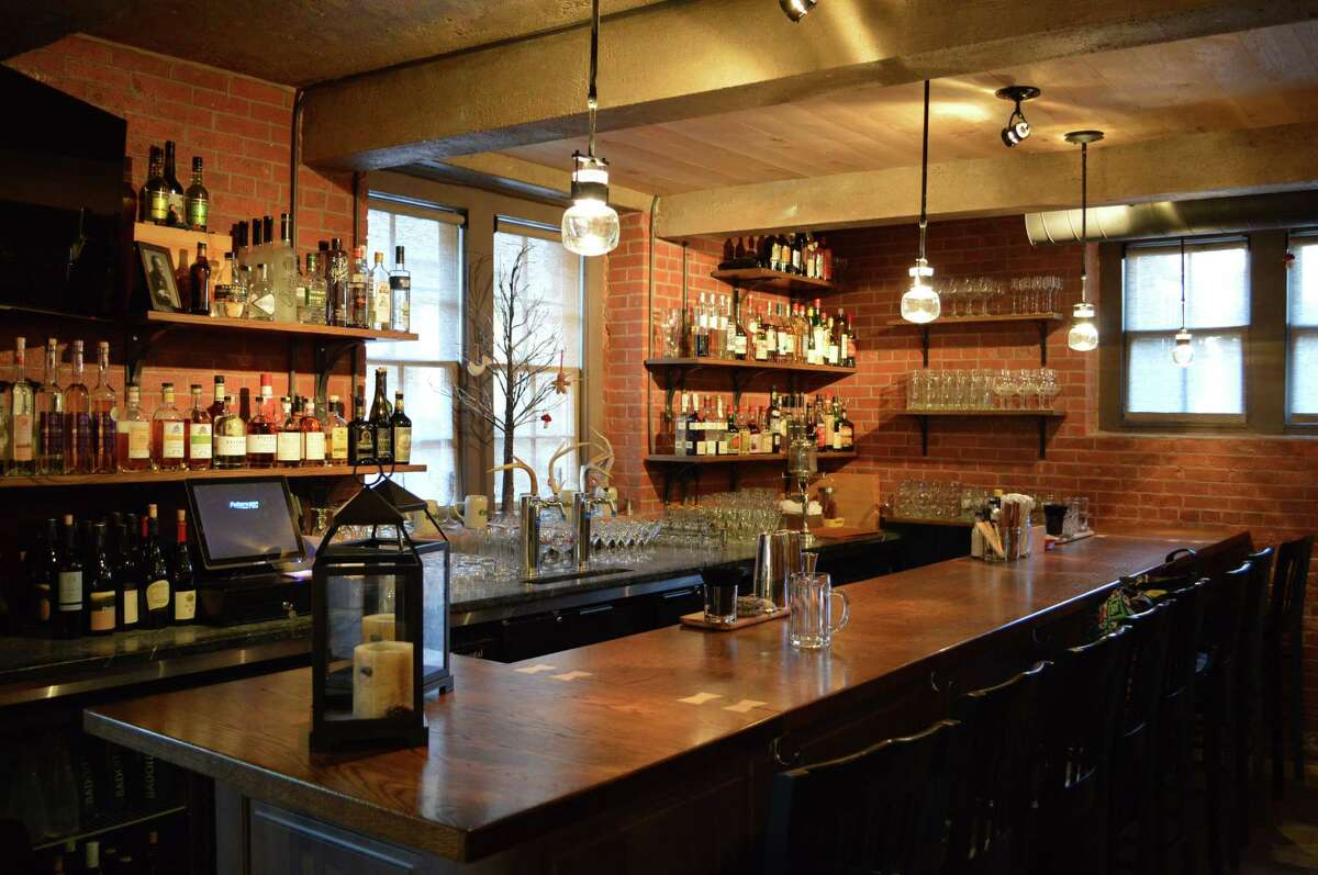 The bar at Rothbard Ale + Larder gastropub is stocked with beer and wine from Europe.