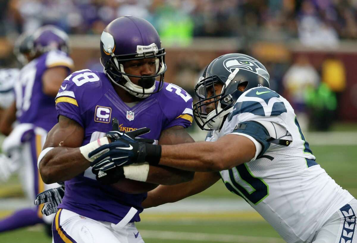 Notable number: 1,164 Vikings running back Adrian Peterson was the NFL's leading runner with 1,164 yards coming into the game, making stopping him priority No. 1 for Seattle on Sunday. The Seahawks did just that, as Peterson was bottled up for just 18 yards on eight carries, giving Bridgewater and the Minnesota offense little chance at putting consistent drives together. This was a vintage performance for Seattle defensively, something that should be considered equally encouraging as the continued offensive fireworks.