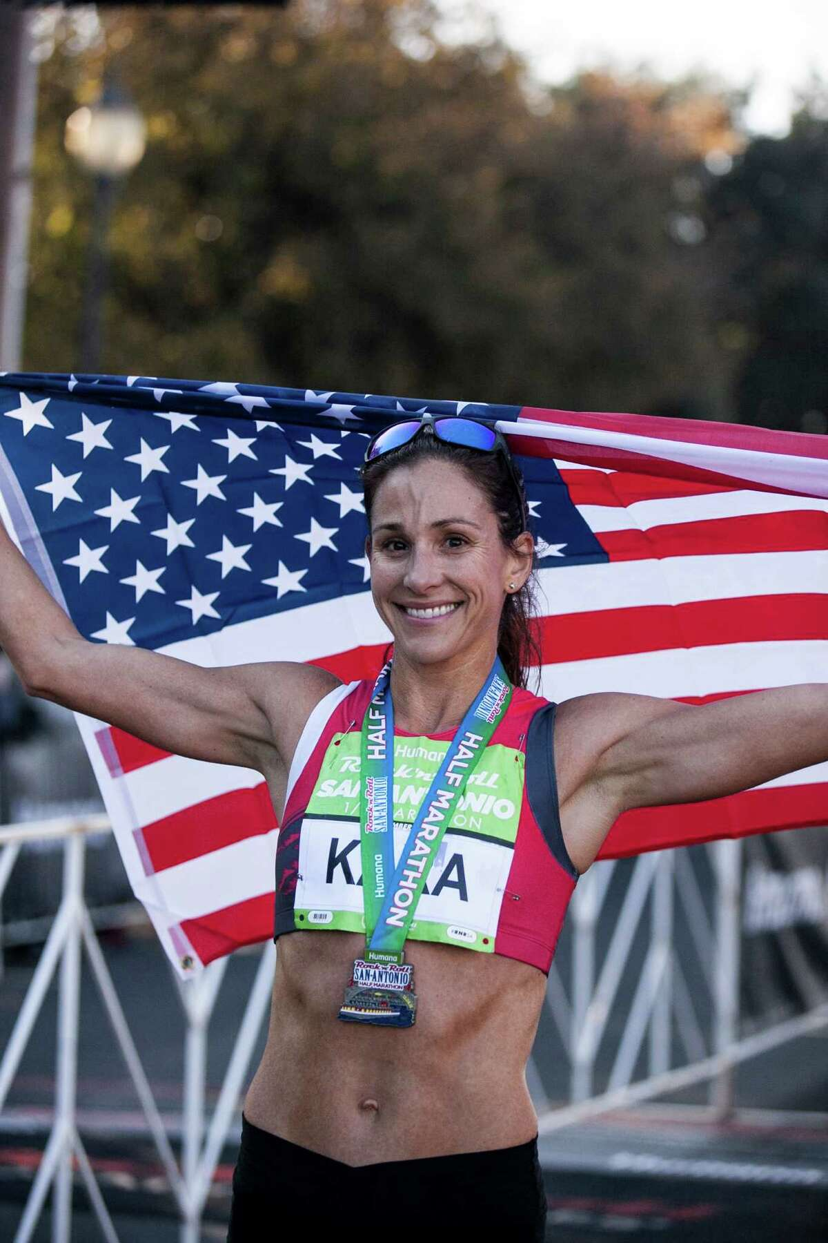 Kara Goucher, who won the women's half marathon Dec. 6, is headed for the 2016 Olympic Tryouts in February.