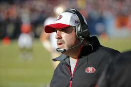 San Francisco 49ers head coach Jim Tomsula watches from the sideline during the first half of an NFL football game against the Chicago Bears, Sunday, Dec. 6, 2015, in Chicago. (AP Photo/Charles Rex Arbogast)