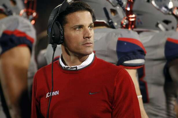 Connecticut head coach Bob Diaco looks on during the second quarter of an NCAA college football game against East Carolina, Friday, Oct. 30, 2015, in East Hartford, Conn. (AP Photo/Stew Milne)