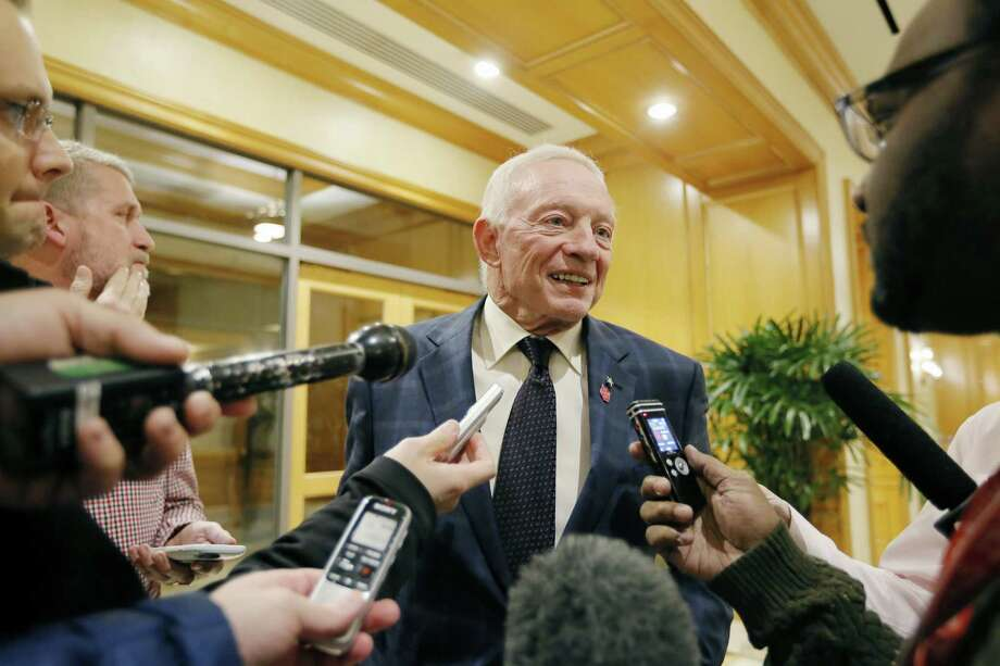 Dallas Cowboys owner Jerry Jones speaks to the media after leaving an NFL owners meeting on Dec. 2, 2015, in Irving. Photo: Brandon Wade /Associated Press / FR168019 AP