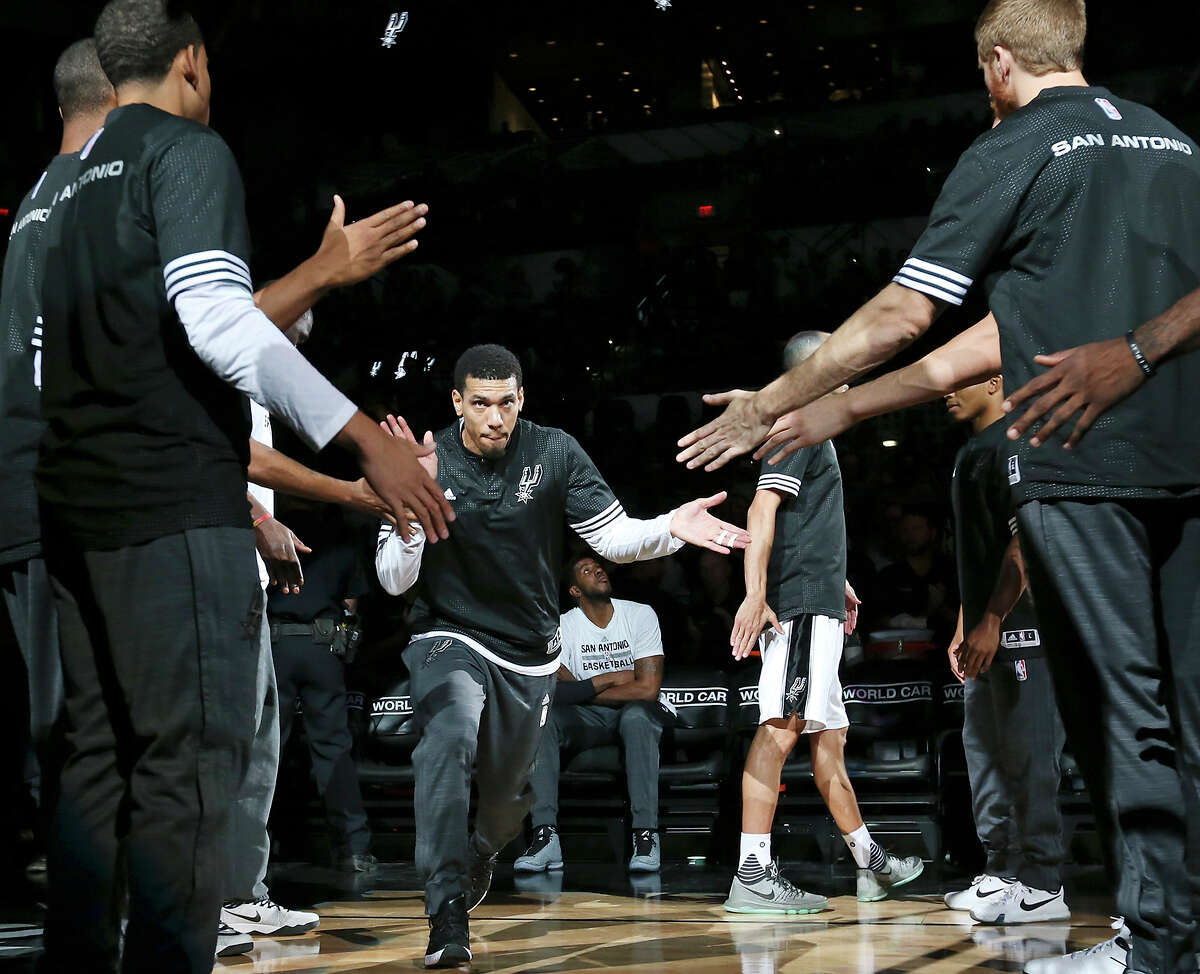 Spurs' Danny Green is introduced before the preseason game against the Pistons on Oct. 18, 2015 at the AT&T Center.
