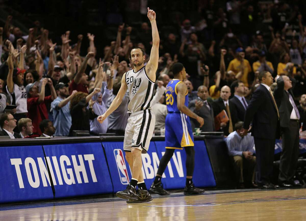 Spurs' Manu Ginobili reacts after hitting a 3-pointer to beat the Golden State Warriors in Game 1 of the NBA Western Conference semifinals at the AT&T Center on May 6, 2013. The Spurs won in double overtime 129-127.