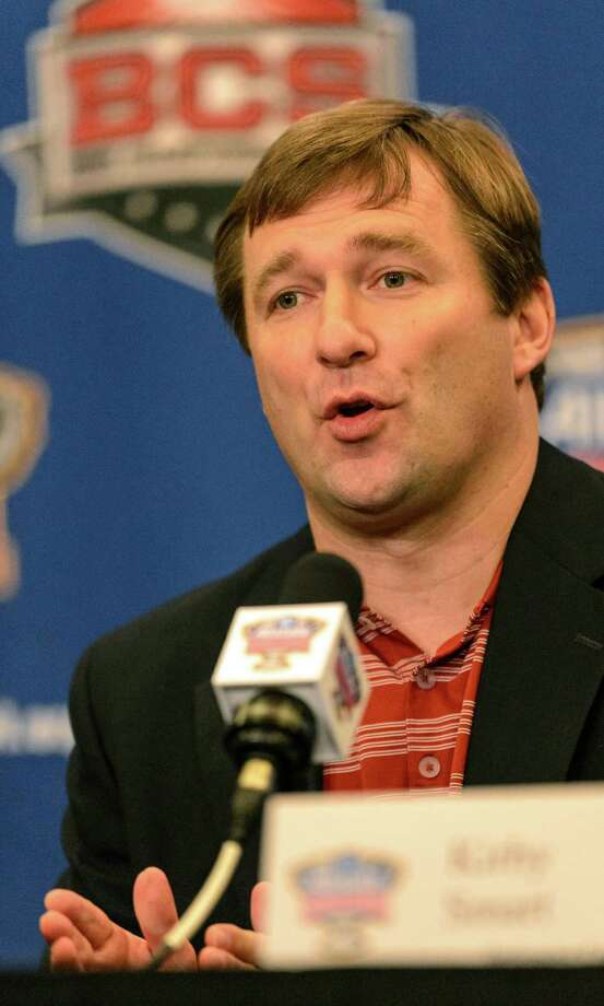 Alabama defensive coordinator/linebackers coach Kirby Smart talks about NCAA college football Sugar Bowl prep as Alabama's defensive representatives meet with the media, Monday, Dec. 30, 2013, in New Orleans. Alabama and Oklahoma face off in the Sugar Bowl, on Jan. 2, 2014. (AP Photo/Alabama Media Group, Vasha Hunt) ORG XMIT: ALBIN406 Photo: Vasha Hunt / Alabama Media Group