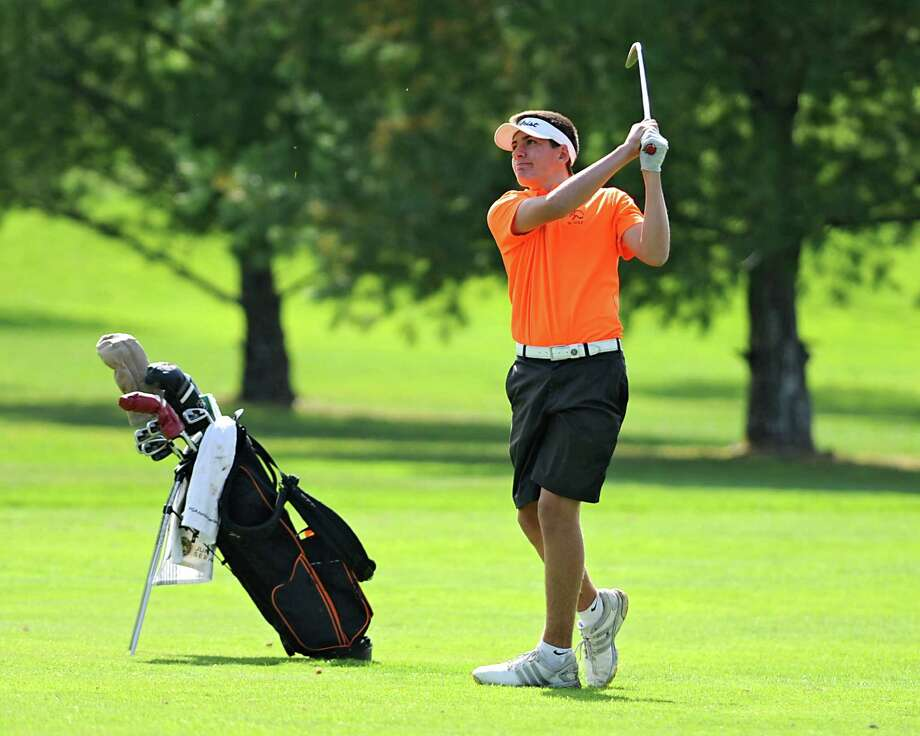 Austin Fox of Bethlehem hits a fairway shot during the Section II Class A golf championship at Eagle Crest Golf Club on Wednesday, Oct. 7, 2015 in Clifton Park, N.Y. (Lori Van Buren / Times Union) Photo: Lori Van Buren / 10033599A